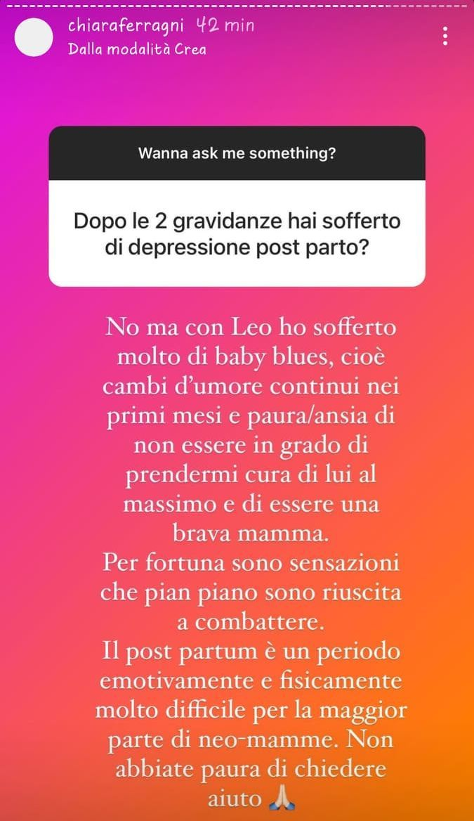 Chiara Ferragni, il dramma dopo la prima gravidanza: 'Ho sofferto di baby blues'