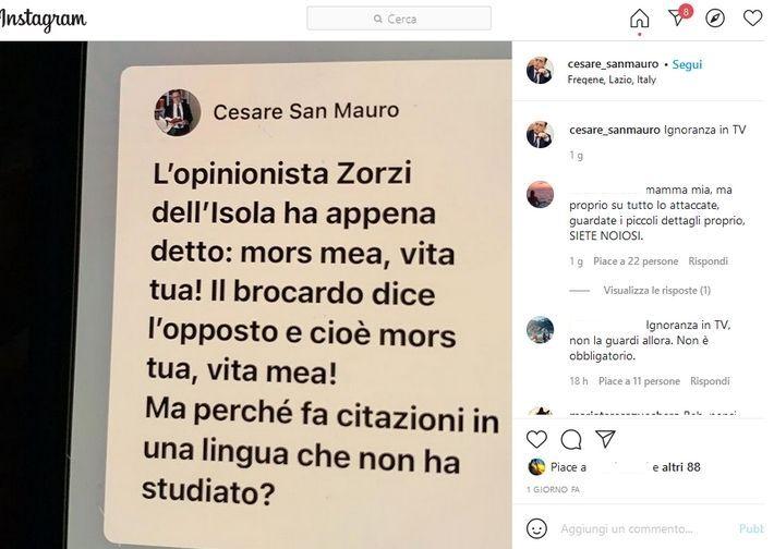 Dal profilo Instagram di Cesare San Mauro